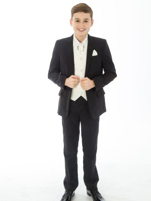 Boys 5 Piece Suits 5 Piece Black with Cream Alfred