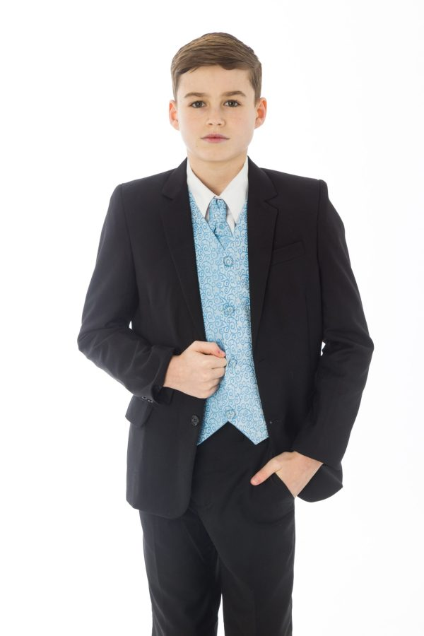Boys 5 Piece Black suit with Blue waistcoat Henry