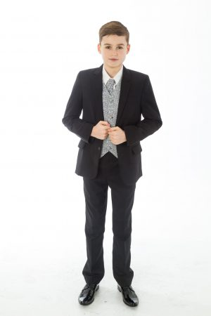 Boys 5 Piece Black suit with Grey waistcoat Henry