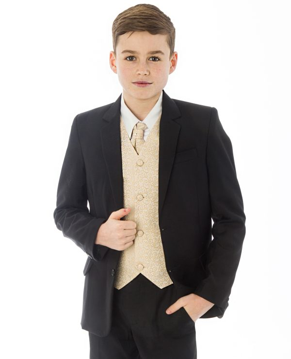 Boys 5 Piece Black suit with Champagne waistcoat Henry