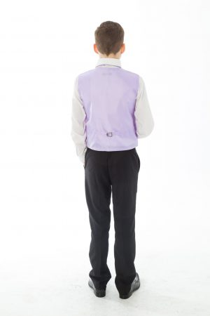 Boys 5 Piece Black suit with Lilac waistcoat Henry