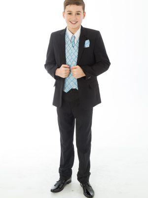 Boys 5 Piece Suits 5 Piece Black with Blue Alfred
