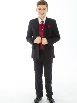 Boys 5 Piece Suits 5 Piece Black with Wine Alfred
