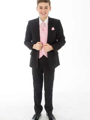 Boys 5 Piece Suits 5 Piece Black with Pink Alfred