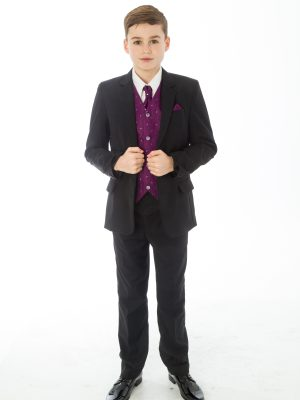 Boys 5 Piece Suits 5 Piece Black with Purple Alfred