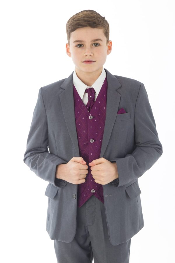 5 Piece Grey with Purple Alfred