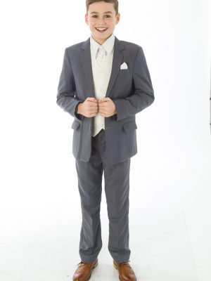Boys 5 Piece Suits 5 Piece Grey with Cream Alfred