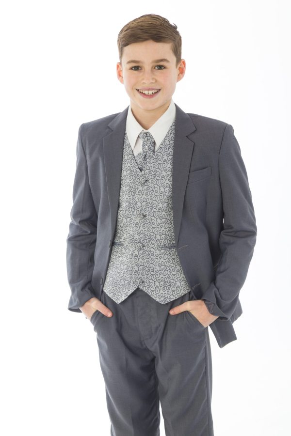 Boys 5 Piece Grey suit with Grey waistcoat Henry