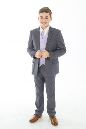 Boys 5 Piece Grey suit with Lilac waistcoat Henry