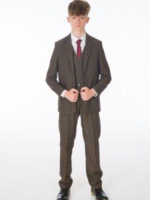 Boys 5 Piece Suits Boys 5 Piece Dark Brown Tweed Suit