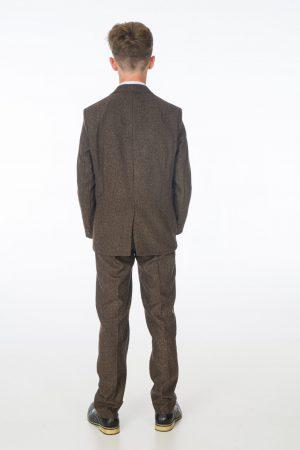 Boys 5 Piece Dark Brown Tweed Suit