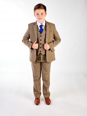 Boys 5 Piece Suits Boys 5 Piece Light Brown Tweed Suit
