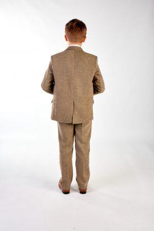 Boys 5 Piece Light Brown Tweed Suit