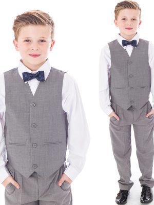 Baby Boys Suits Boys 4 piece bow tie suit Grey