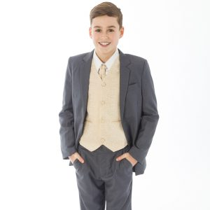 Boys 5 Piece Grey suit with Champagne waistcoat Henry