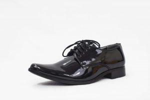 Boys Black Patent Derby Shoe