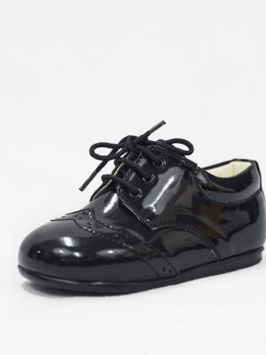 Boys Shoes Early Steps Black Patent Brogue