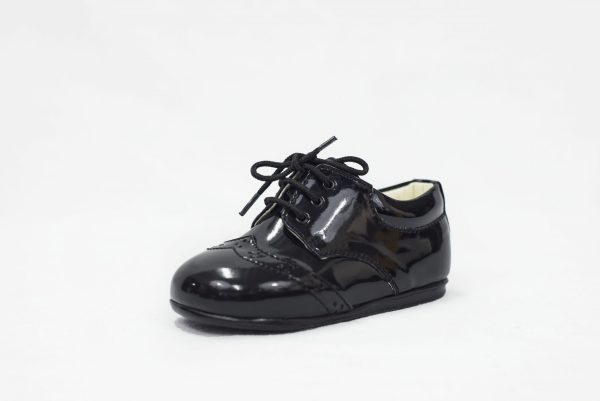 Early Steps Black Patent Brogue