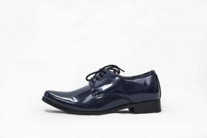 Boys Navy Patent Derby Shoe