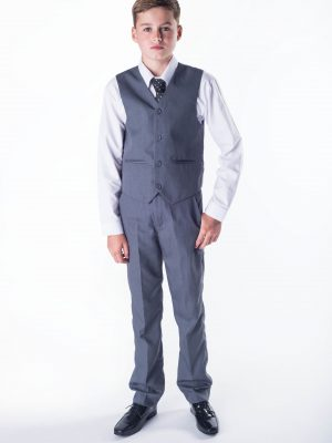Boys 4 Piece Waistcoat Suits Boys 4 piece Suit Grey Romario