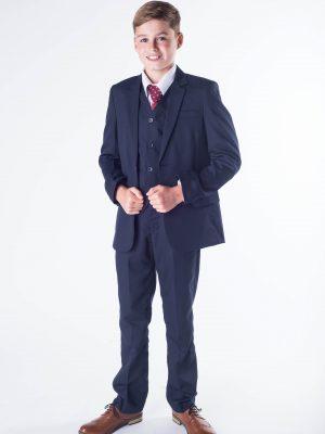 Boys Boys 5 Piece Suit in Navy Romario