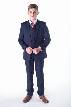 Boys 5 Piece Suit in Navy Romario