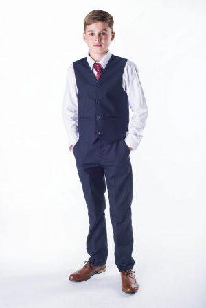 Boys 4 Piece Suit Navy Romario