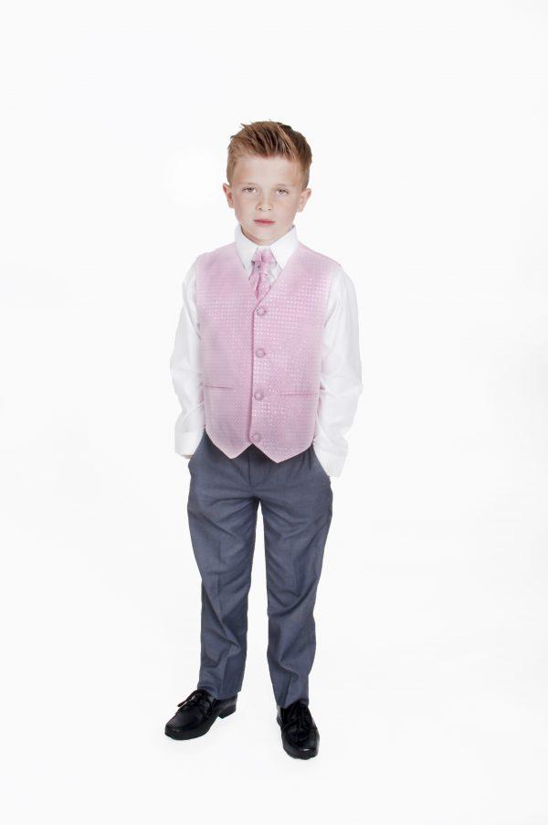 Boys 4 Piece Suit Grey Pink Philip