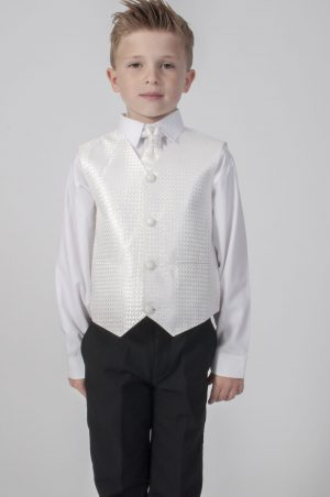 Boys 4 Piece Suit Black With Ivory Waistcoat Philip