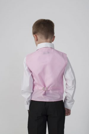 Boys 4 Piece Suit Black With Pink Waistcoat Philip