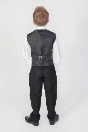 Boys 4 Piece Suit Black With Purple Waistcoat Philip