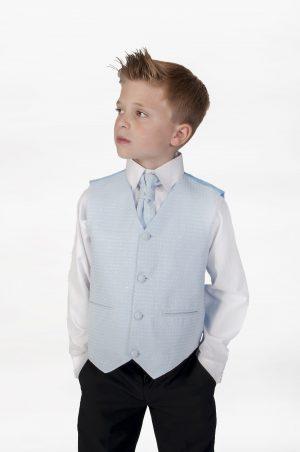 Boys 4 Piece Suit Black With Blue Waistcoat Philip