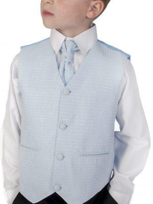 Boys 4 Piece Waistcoat Suits Boys 4 Piece Suit Black  With Blue Waistcoat Philip
