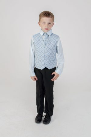 Boys 4 piece Suit Black With Blue Waistcoat Alfred