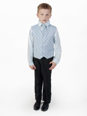 Boys suits Boys 4 piece Suit Black With Blue Waistcoat Alfred