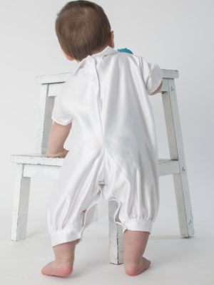Baby Boys Suits Oliver Christening Romper in White