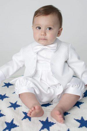 Oliver Christening Romper in White