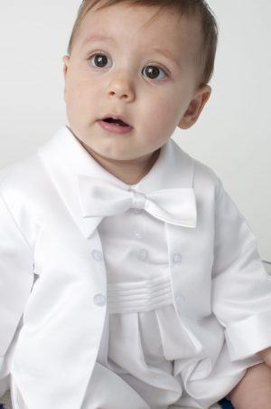 Christopher Christening Romper in White