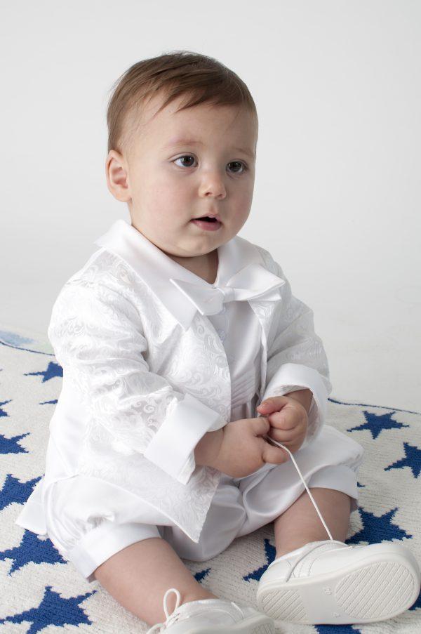 Lucas Christening Romper in White