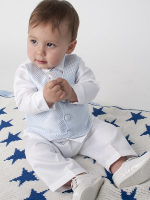 Baby Boys Suits 4 Piece Leo Christening Suit in Blue