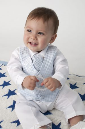 4 Piece Leo Christening Suit in Blue