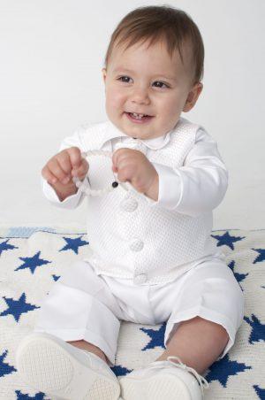 4 Piece Leo Christening Suit in White