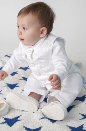 4 Piece Romeo Christening Suit in White