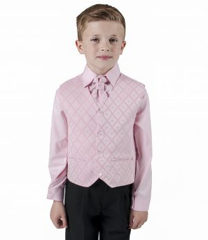 Boys 4 Piece Suit Black with Pink/Pink Waistcoat Alfred