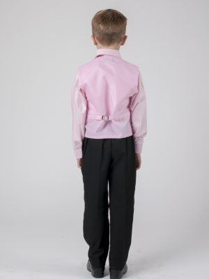 Boys 4 Piece Waistcoat Suits Boys 4 Piece Suit Black with Pink/Pink Waistcoat Alfred