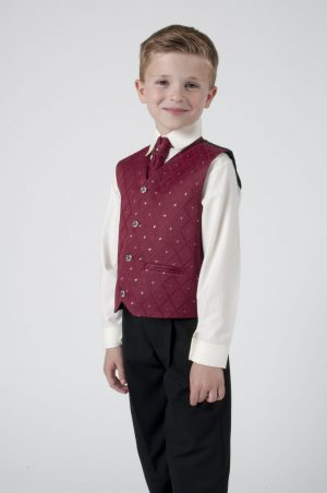 Boys 4 Piece Suit Black With Wine Waistcoat Alfred