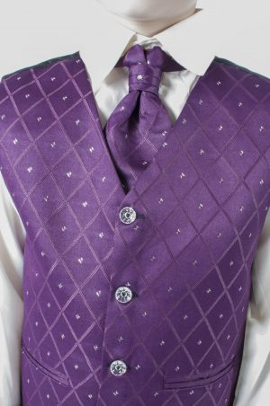 Boys 4 Piece Suit With Purple Waistcoat Alfred