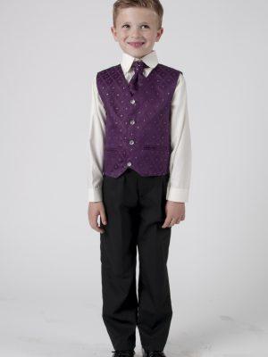 Boys 4 Piece Waistcoat Suits Boys 4 Piece Suit With Purple Waistcoat Alfred