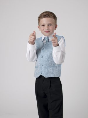 Boys suits Boys 4 Piece Suit Black With Blue Waistcoat Henry