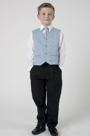 Boys 4 Piece Suit Black With Blue Waistcoat Henry